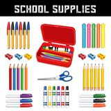 School Supplies, Pencil Box Stock Photos