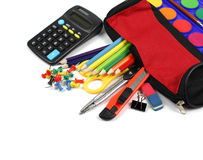 School supplies and pencil case isolated on white background. Royalty Free Stock Photography