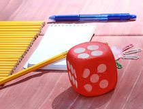 School supplies objects. School supplies pencils, notepad and paper clips Royalty Free Stock Images