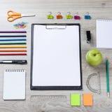 School Supplies - Pencils, Paint Pens Paper Scissors Royalty Free Stock Images