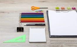 School supplies - pencils, paint pens paper scissors Royalty Free Stock Image