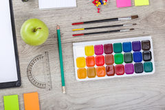 School supplies with pencils paint pens Stock Images