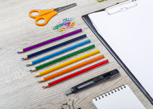 School supplies with pencils paint pens Royalty Free Stock Image