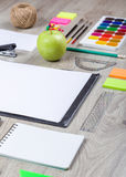 School supplies with pencils paint pens Royalty Free Stock Photography