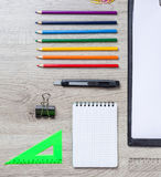 School supplies with pencils, paint Royalty Free Stock Images