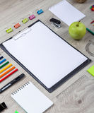 School supplies with pencils, paint Stock Image