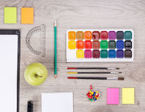 School supplies with pencils, paint and rulers Royalty Free Stock Photography