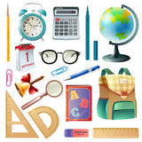 School Supplies Realistic Icons Collection Royalty Free Stock Photo