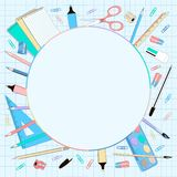 School supplies round background with checkered paper royalty free illustration