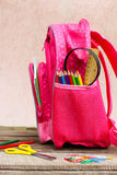 School supplies are in school backpack. Royalty Free Stock Images