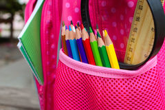 School supplies are in school backpack. Stock Image