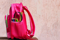 School supplies are in school backpack Royalty Free Stock Image