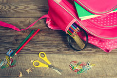 School supplies are in school backpack. Royalty Free Stock Photo