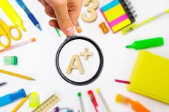 School supplies in the school desk, stationery, school concept, royalty free stock images