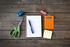 School supplies. On desk for students stock photo