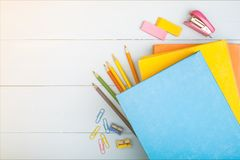 School supplies. Notebook archive back background book bookstore stock photo