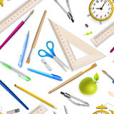 School supplies seamless pattern. EPS 10 Royalty Free Stock Photos
