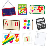 School supplies set, a set of cartoon school icons. Vector illustration Royalty Free Stock Photo