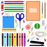 School supplies. A set of stationery. Isolated objects on a white background stock illustration