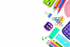 School supplies side border isolated on white Stock Images