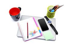 School Supplies on smart laptop Royalty Free Stock Photo