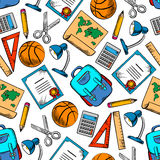 School supplies, sporting items seamless pattern Royalty Free Stock Photography