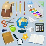 School supplies stationary educational backpack equipment vector illustration. Royalty Free Stock Images