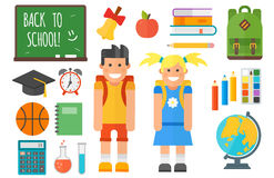 School supplies stationery equipment and schoolkid vector illustration. Stock Photos