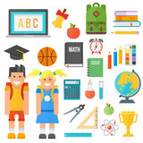 School supplies stationery equipment and schoolkid vector illustration. Royalty Free Stock Photos