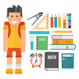 School supplies stationery equipment and schoolkid vector illustration. Stock Images