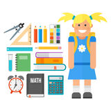 School supplies stationery equipment and schoolkid vector illustration. Stock Photography