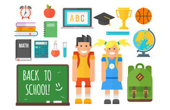 School supplies stationery equipment and schoolkid vector illustration. Royalty Free Stock Photo