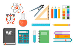 School supplies stationery equipment vector illustration. Stock Image