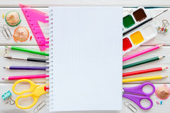 School supplies, stationery and space for text Stock Photos