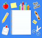 School supplies stickers. And blank notebook on blue grid background vector illustration
