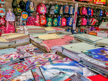 School supplies in supermarket Royalty Free Stock Image