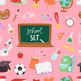 School supplies symbols seamless pattern background equipment vector illustration. Back to school Royalty Free Stock Images