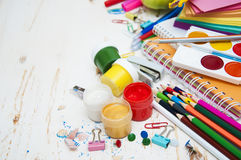 School supplies. On the table Royalty Free Stock Photos