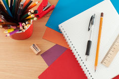 School supplies on the table Stock Images
