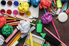 School supplies on the table royalty free stock images