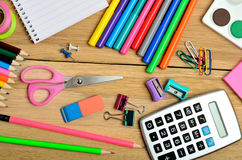School supplies on table Stock Image