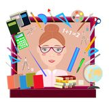 teacher on a brown background vector illustration