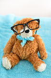 School supplies. Teddy bear with glasses Royalty Free Stock Images
