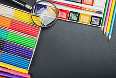 School supplies to the schoolboard Royalty Free Stock Photo