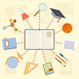 School supplies and tools around the book on a Royalty Free Stock Photos