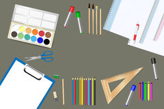 School supplies and tools ready for use Stock Image