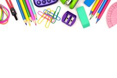 School supplies top border isolated on white Royalty Free Stock Photography