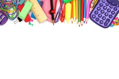 School supplies top border on a white background Stock Image