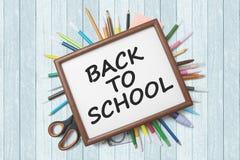 School supplies under frame Stock Photography
