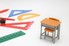 School supplies used in math class, geometry or science.  Mathematics geometry tool for student in math class on white background. School supplies used in math Royalty Free Stock Photos